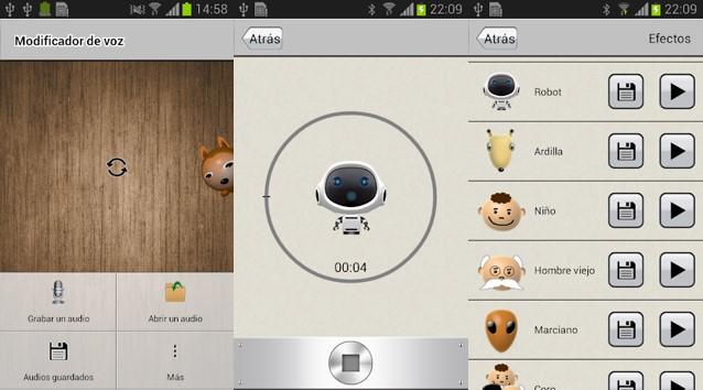 interfaz de modificador de voz androidrock