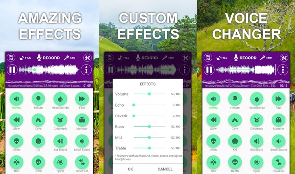 opciones de cambiador de voz con efectos